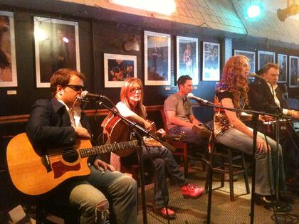 """Tom Schreck, Chaise Flanders, Nathan Brumley, Katie Miner """"Songwriters-In-A-Round"""" format at USA Songwriting Competition&squot;s showcase at Bluebird Cafe showcase"""