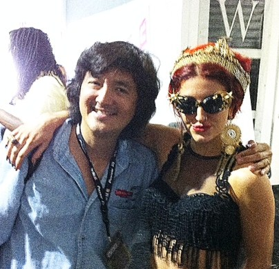 Singer Songwriter Neon Hitch With Event Director Eddie Phoon, at WMC (Winter Music Conference) in Miami Beach